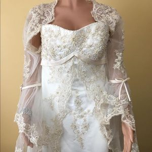 Satin & Lace Wedding Dress by Mary's Bridal